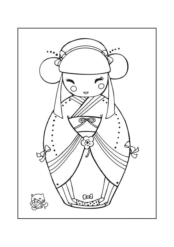 Раскраска Кокеши «О кимоно»   Японские куклы   Чудо ребенок