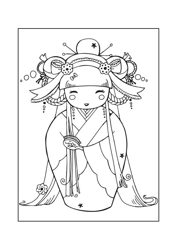Раскраска Кокеши «Гейша»   Японские куклы   Чудо ребенок