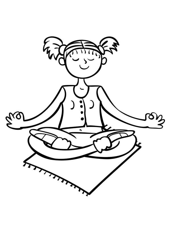 Раскраска Поза полулотоса   Весёлая йога   Чудо ребенок