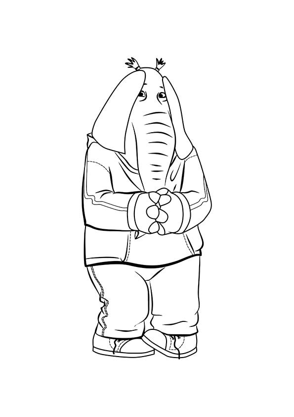 Раскраска Слониха-подросток Мина   Зверопой   Чудо ребенок