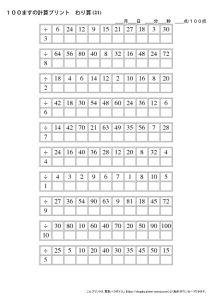 100ますの計算プリント_割り算_No21のサムネイル