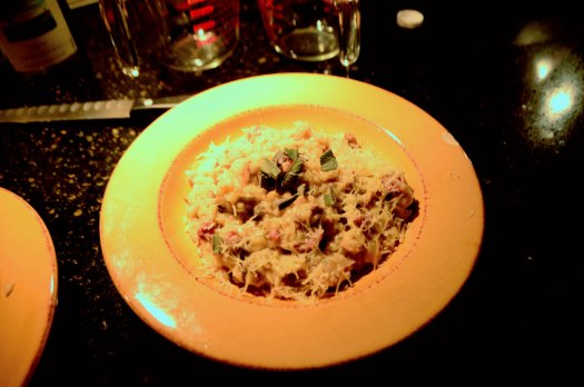 Chukar Risotto with Peppered Bacon and Fresh Sage