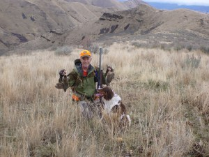 Brittany with chukar and Hun