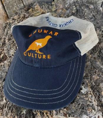 Chukar Culture unstructured snap-back trucker hat, navy/khaki.