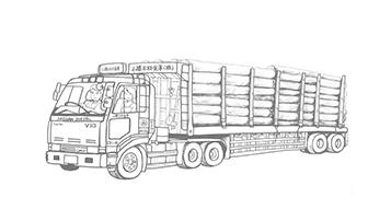 働く車ぬり絵「木材運搬トレーラー」