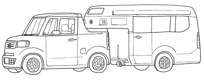 ぬり絵(ホンダN-TRUCK/N-CAMP軽キャンピングカー)
