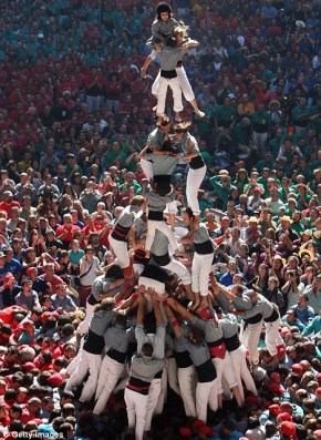 A human pyramid of support