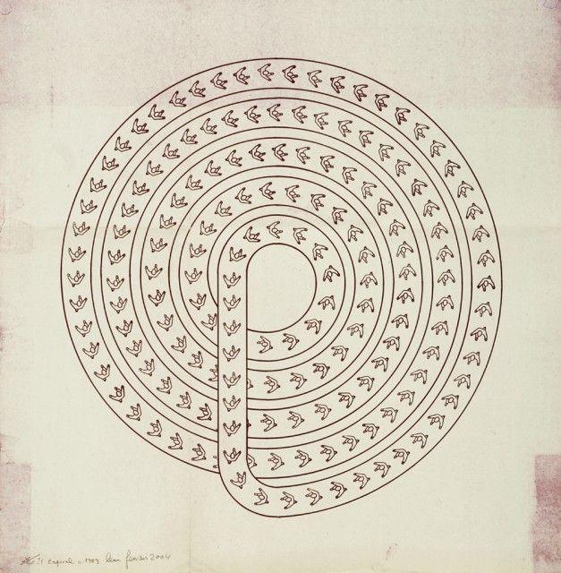 "vjeranski: ""LEÓN FERRARI Espiral, 1983, Heliograph, 23⅝ x 23⅝ in.60 x 60 cm. "" #chumboworld / Léon Ferrari /"