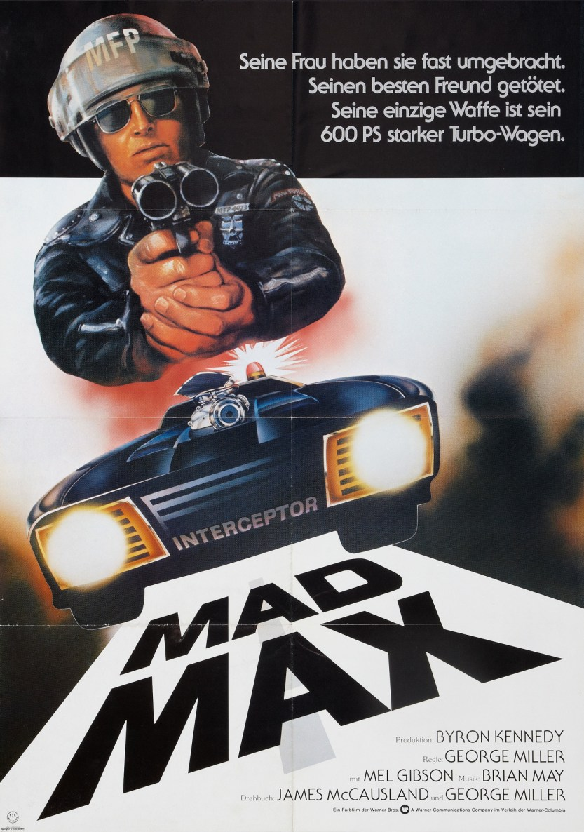 """humanoidhistory: """"German poster for Mad Max, 1979, directed by George Miller. """""""