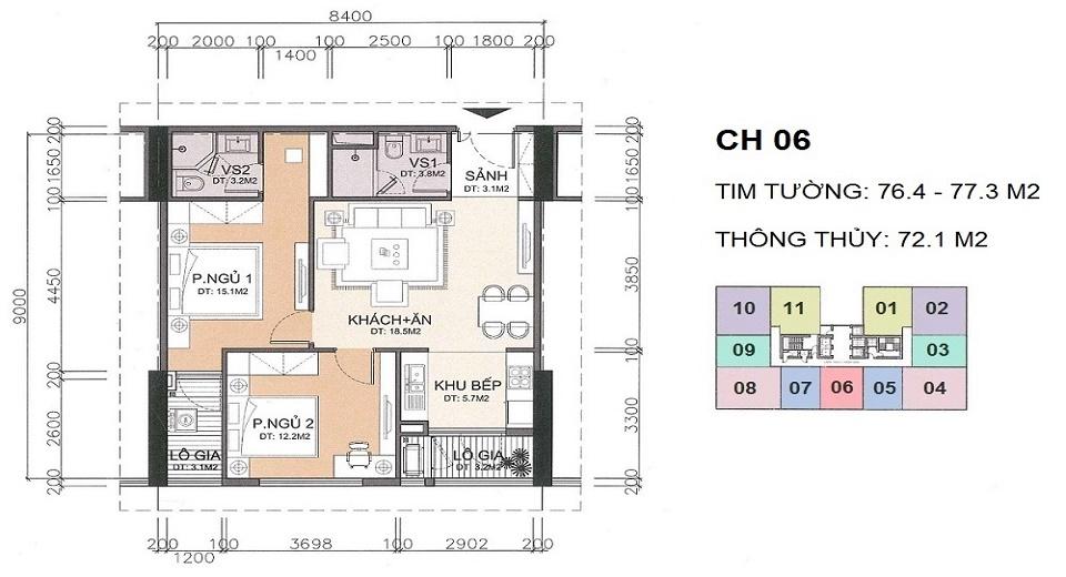 thiết kế căn hộ 72 m2 chung cư a10 nam trung yên