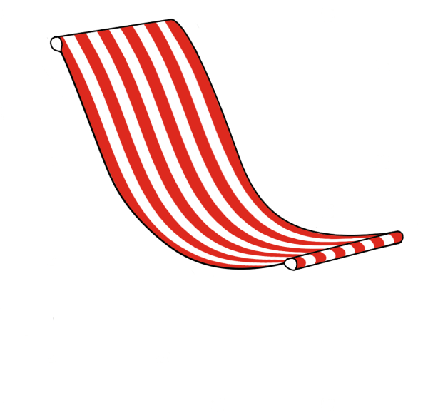 Red and White Striped Giant Deckchair Canvas Sling