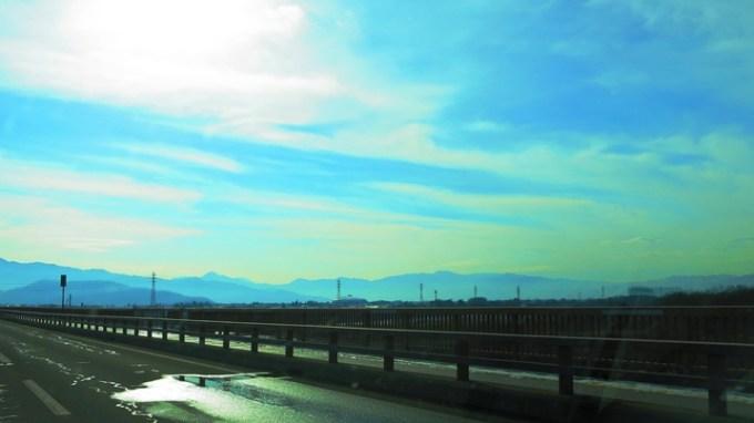 長野市五輪大橋冠着山姨捨山