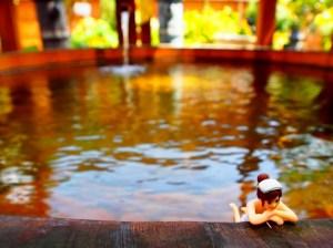 戸倉上山田温泉中央ホテル露天風呂コップのフチ子温泉