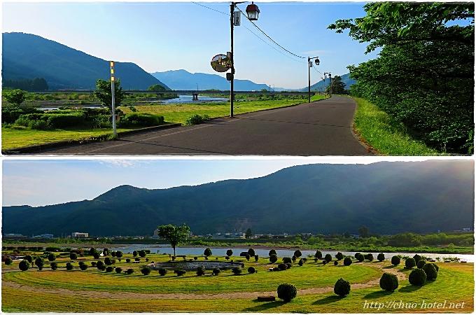 千曲川親水公園噴水戸倉上山田温泉
