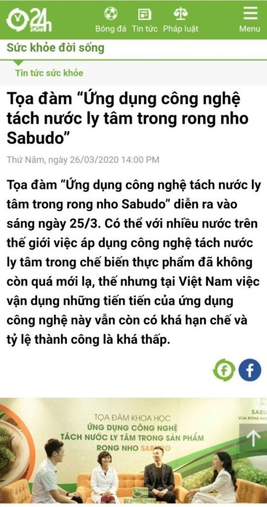 Báo 24h.net nói về Rong nho Sabudo chính hãng