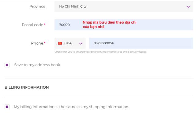 Điền các thông tin đặt mua Foreo