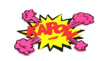 onomatopeya de comic kapow hecha con goma eva de colores 1300