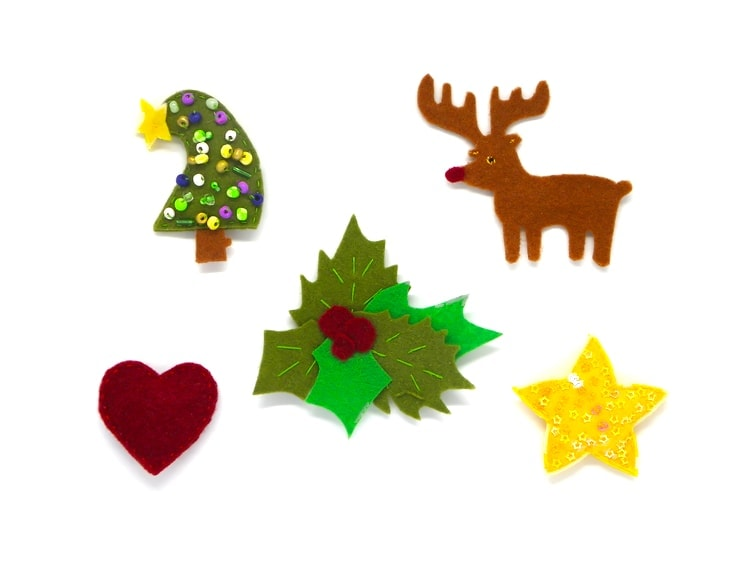 Broches de fieltro para Navidad