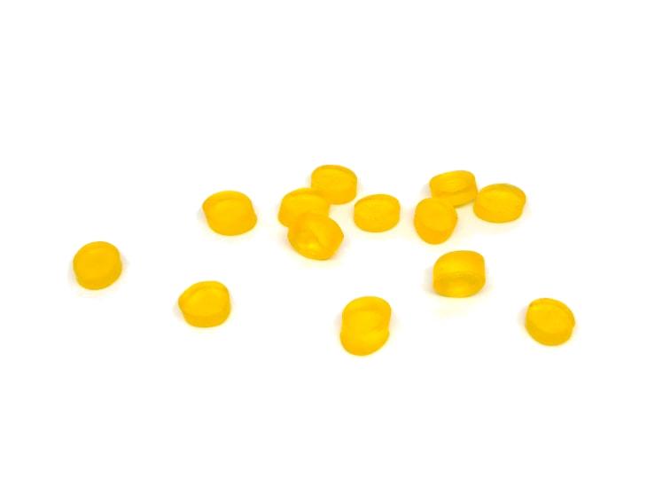pequeñas pastillas de jabon de glicerina hechas con un tubo como molde