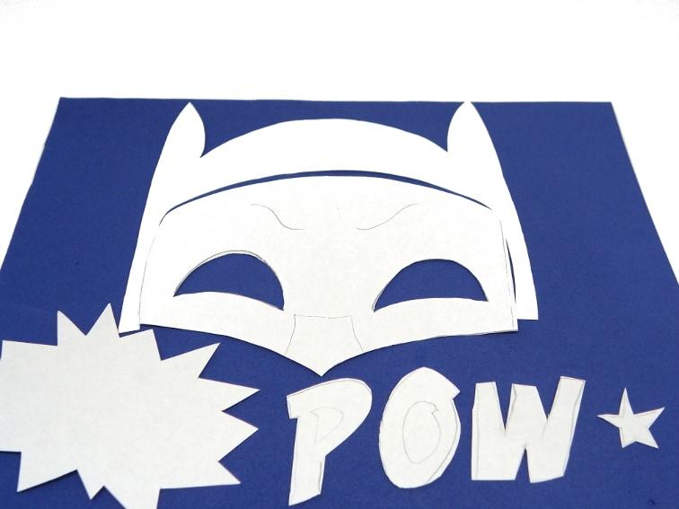 goma eva y plantillas para hacer mascara de batman y onomatopeya pow