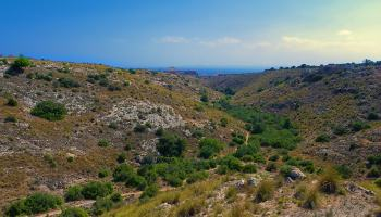 vista del barranco de la tia amalia desde lo alto de una cresta en la sierra de santa pola