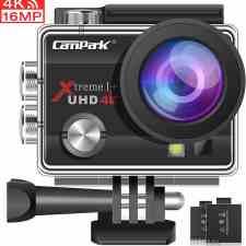 Campark ACT74 Camara Deportiva 4K 16MP WiFi 30M Impermeable con 2 Baterías y Kit de Accesorios