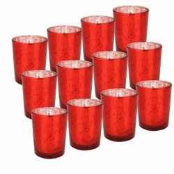12 unidades de portavelas rojo moteado para velas de té