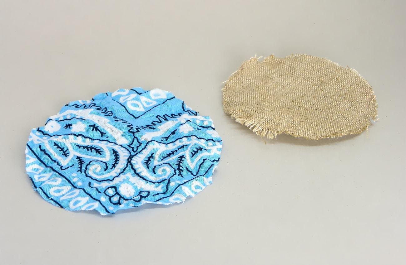 tela de algodon y de lino cortada en circulos para hacer alfileteros
