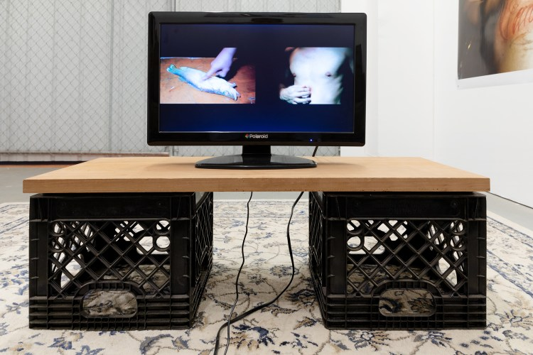 TV monitor set up on top of plywood over crates. The TV is screening a performance done by the artists where they pressure their fingers on a raw fish and also their own body.