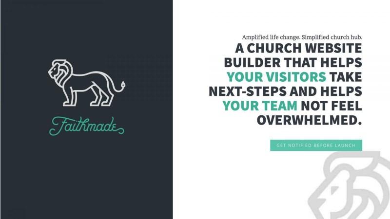 screenshot of Faithmade homepage website solution