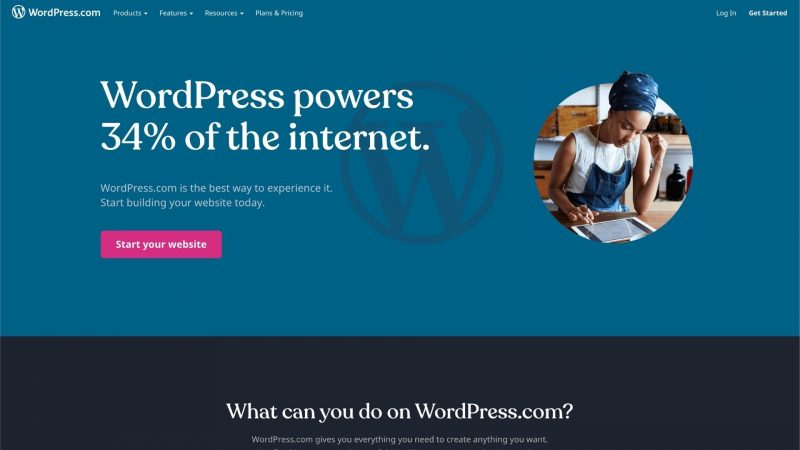 screenshot of WordPress homepage website solution