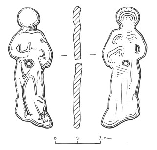SOMDOR-40D330 copper alloy mount with figure (St Agnes ?) holding animal under arm