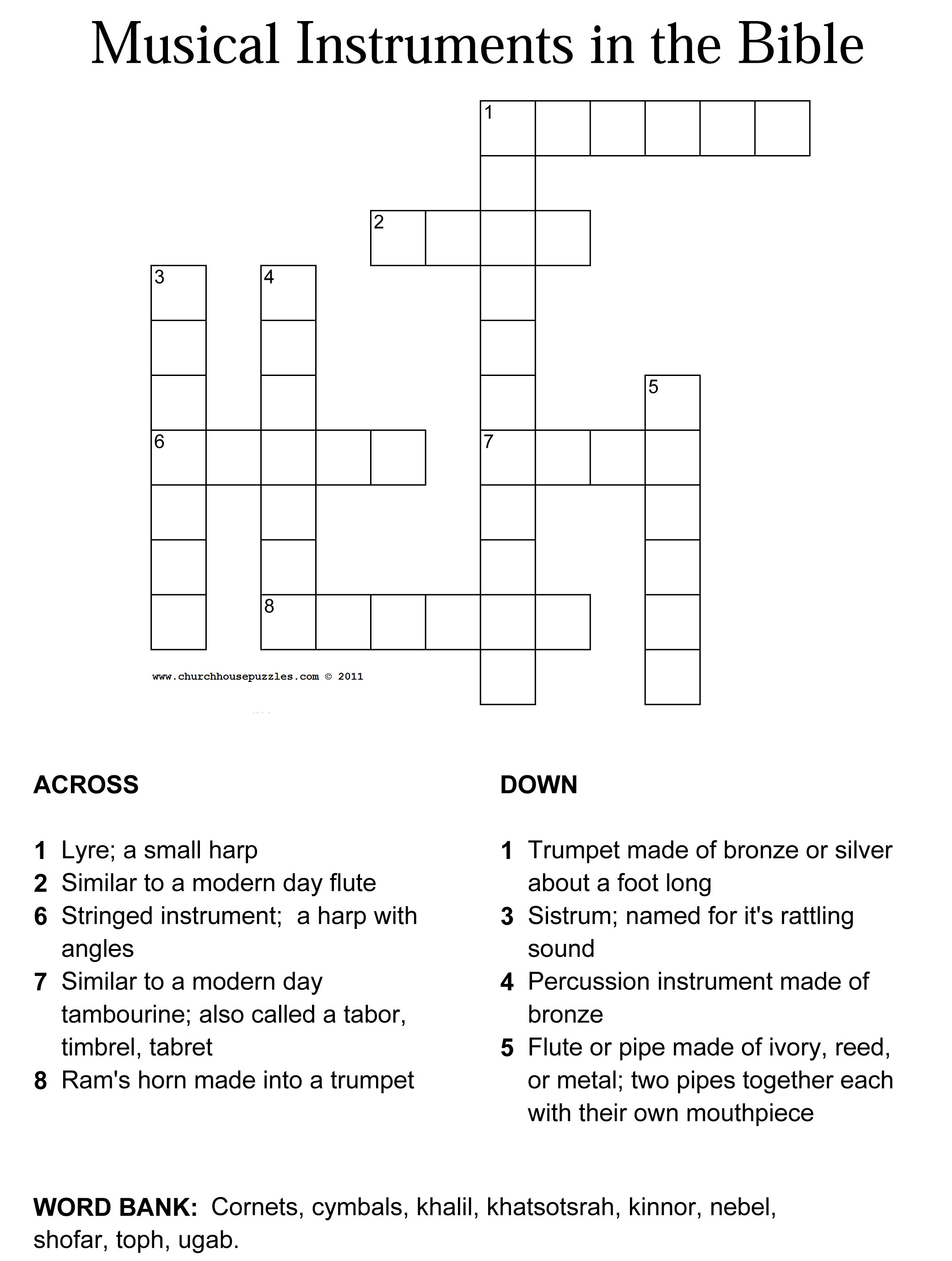 Musical Instruments Of The Bible Crossword Puzzle
