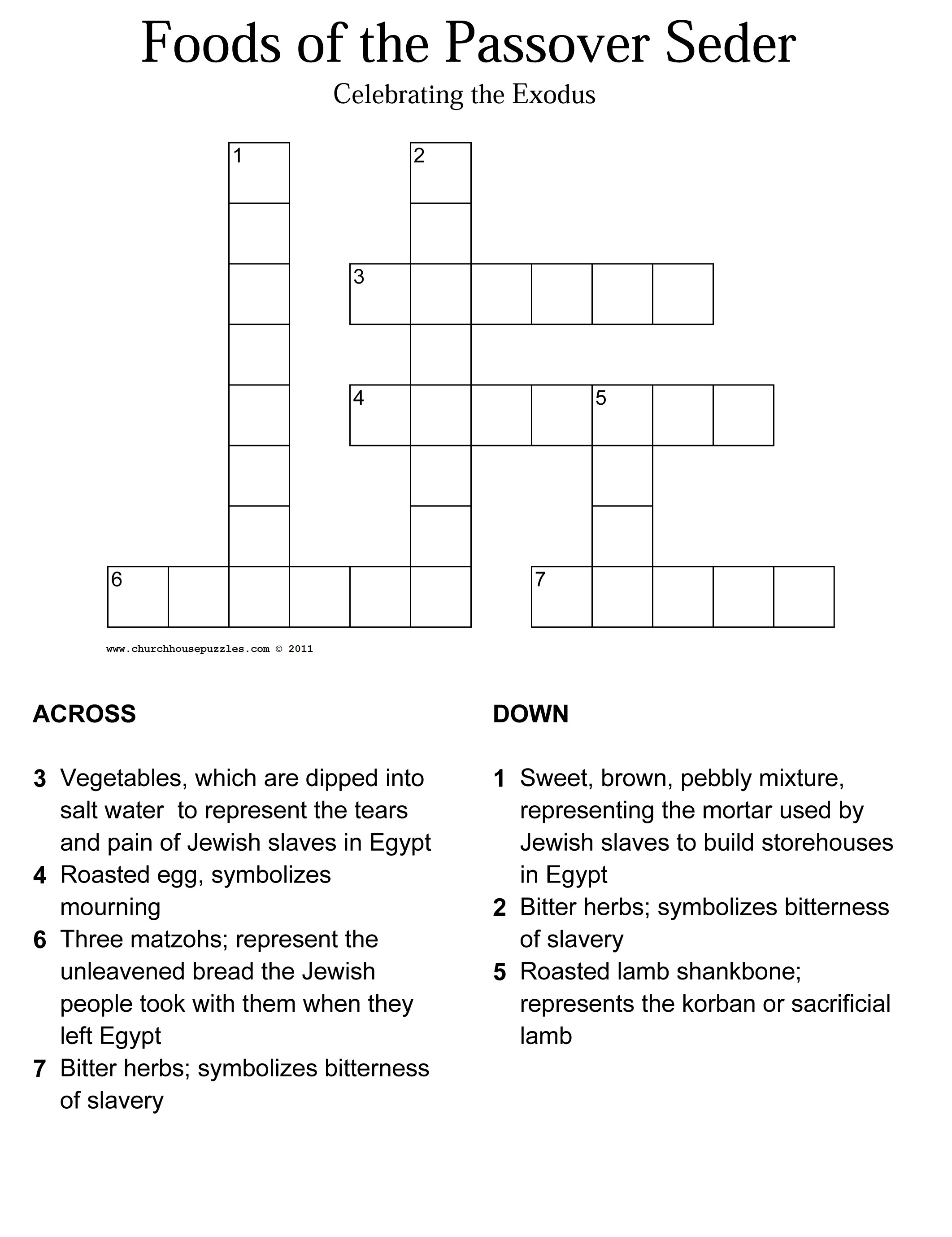 Crossword Puzzles With Word Bank Printable