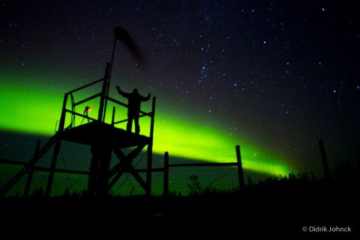 Aurora Borealis above the viewing tower at Nanuk.