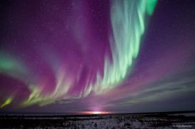 Cascade of northern lights at Dymond Lake Ecolodge. Raja Banerjee photo.