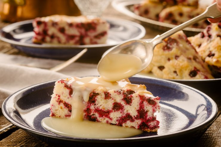 Wild Arctic Cranberry Cake with Warm Butter Sauce. Blueberries & Polar Bears Cookbooks. Ian McCausland Photo.