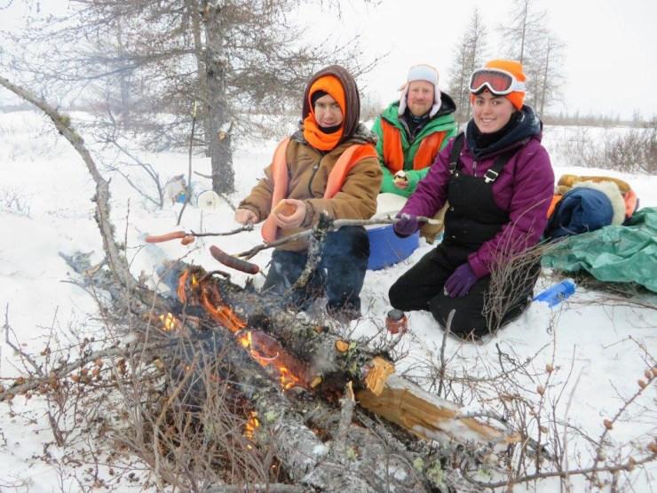 Wiener roast on the Hudson Bay coast. (L to R) Adam Reimer, Riley Friesen, Allison Reimer.