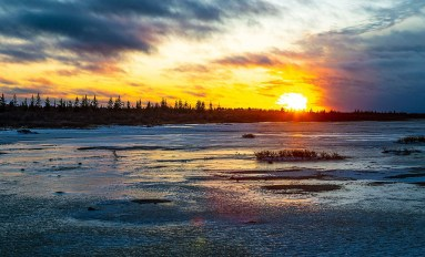 Sunset at Nanuk Polar Bear Lodge. Steve Zalan photo.