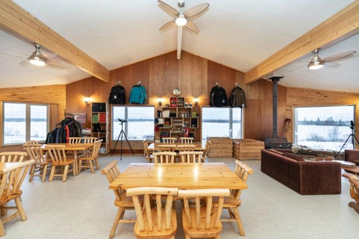 The beams held. Dymond Lake Ecolodge dining room. Scott Zielke photo.