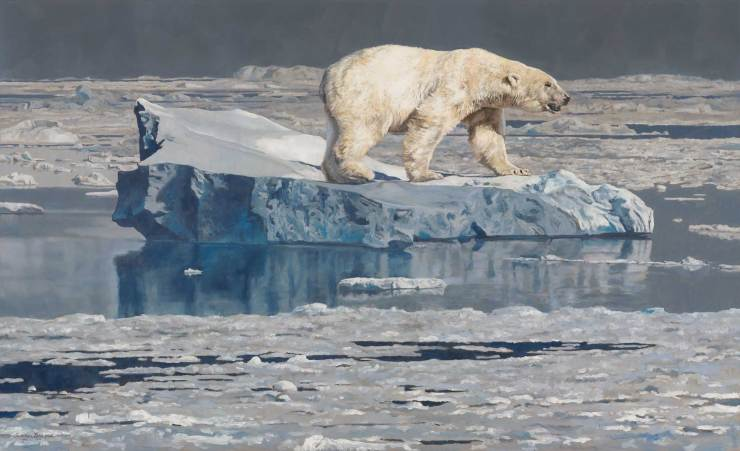 Ice Bear. Multiple award-winning original oil painting by Linda Besse.