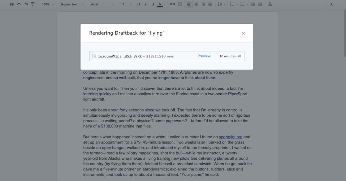 Draftback: Playback Your Google Doc Revision History