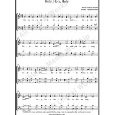 Holy Holy Holy Sheet Music (SATB) with Practice Music tracks. Make unlimited copies of sheet music and the practice music.