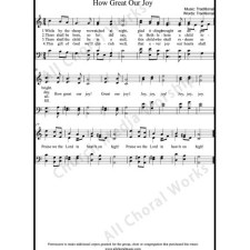 How great our joy Sheet Music (SATB) with Practice Music tracks. Make unlimited copies of sheet music and the practice music.