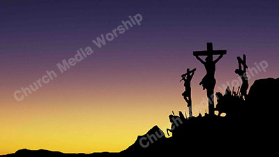 Jesus Cross Silhouette to sunset Christian Worship Background. High quality worship images for use to spread the Gospel and enhance the worship experience.