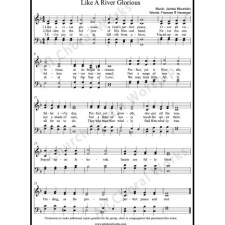 Like a river glorious Sheet Music (SATB) with Practice Music tracks. Make unlimited copies of sheet music and the practice music.