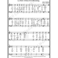 Lo How A Rose Eer Blooming Sheet Music (SATB) with Practice Music tracks. Make unlimited copies of sheet music and the practice music.