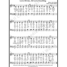 Love divine all love excelling Sheet Music (SATB) with Practice Music tracks. Make unlimited copies of sheet music and the practice music.