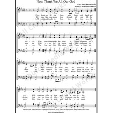 Now Thank We All Our God Sheet Music (SATB) with Practice Music tracks. Make unlimited copies of sheet music and the practice music.
