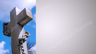 Stone cross with chain Stone Christian Worship Background. High quality worship images for use to spread the Gospel and enhance the worship experience.